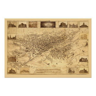 Denver mapa panorámico del CO - 1881 Poster