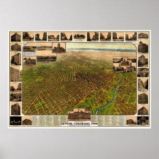 Denver, mapa panorámico del CO - 1908 Póster