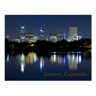 Denver Night Skyline Reflection Postcard