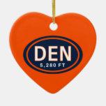 Denver personalizada CO ornamento del corazón de 5 Ornamento De Reyes Magos