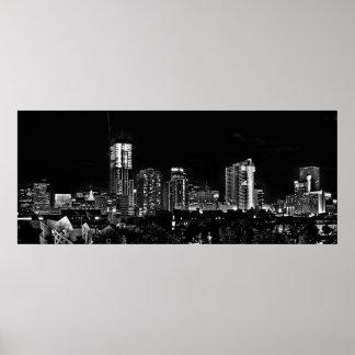 Denver por noche en blanco y negro póster