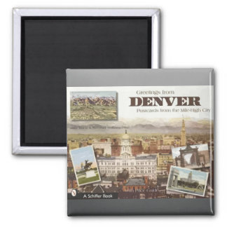 Denver Post Cards From The Mile-High City, Vintage 2 Inch Square Magnet