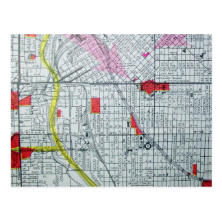 DENVER, postal del mapa del vintage del CO