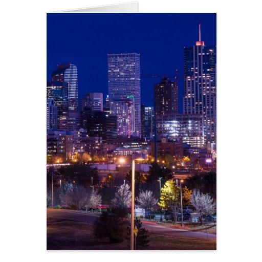 Denver Skyline At Night - Colorado Card