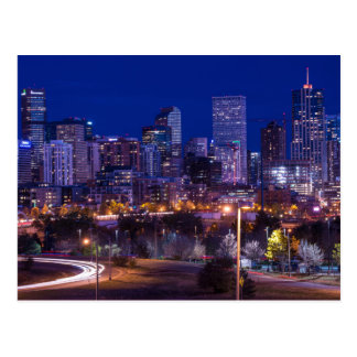 Denver Skyline At Night - Colorado Postcard