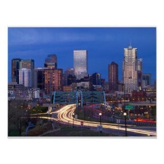 Denver Skyline at Night Poster