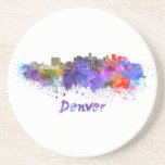 Denver skyline in watercolor drink coaster