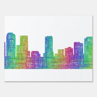 Denver skyline lawn sign