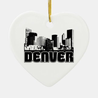 Denver Skyline Double-Sided Heart Ceramic Christmas Ornament