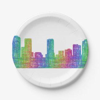 Denver skyline paper plate