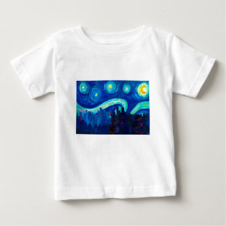 Denver Skyline Silhouette at Starry Night Baby T-Shirt