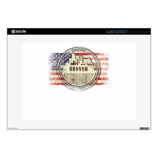 """Denver skyline,Usa flag Skin For 15"""" Laptop"""