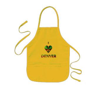 Denver -- Verde azul y Borgoña Delantal Infantil