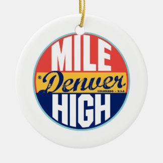 Denver Vintage Label Double-Sided Ceramic Round Christmas Ornament
