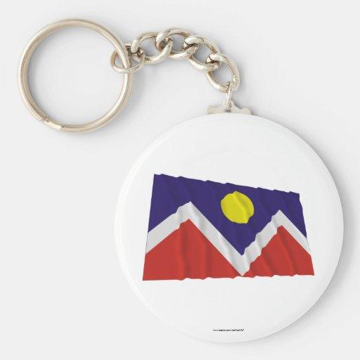 Denver Waving Flag Basic Round Button Keychain