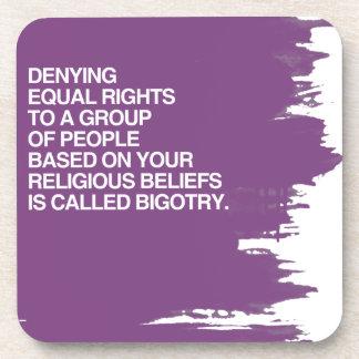 DENYING EQUAL RIGHTS BASED ON YOUR RELIGIOUS BELIE BEVERAGE COASTER