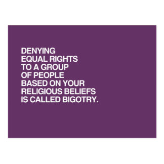 DENYING EQUAL RIGHTS BASED ON YOUR RELIGIOUS BELIE POSTCARD