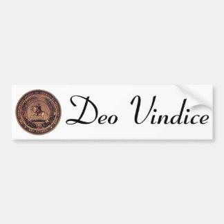 DEO VINDICE Confederate Seal Bumper Sticker
