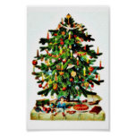 Deocrated christmas tree with gifts placed under posters