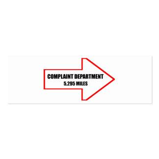 Departamento de denuncia tarjetas de visita
