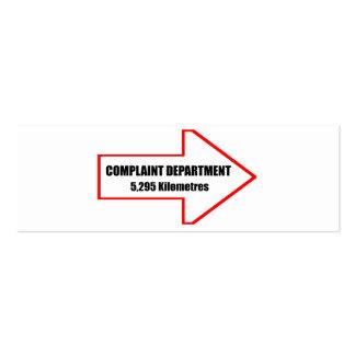 Departamento de denuncia tarjetas personales