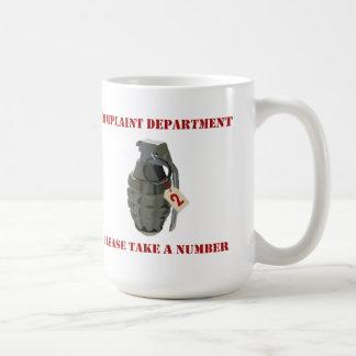 Departamento de denuncia taza de café