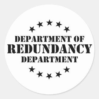 Departamento de departamento de la redundancia pegatina redonda