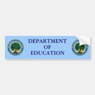 Departamento de Educación de Estados Unidos Pegatina De Parachoque