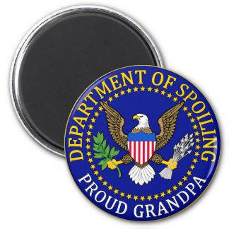 Departamento de estropeo - abuelo orgulloso imán redondo 5 cm