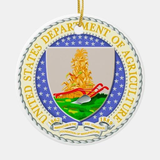 Departamento de los E.E.U.U. del sello de la Adorno Navideño Redondo De Cerámica