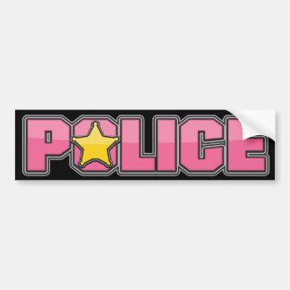 Departamento de Policía rosado 3 del lustre Etiqueta De Parachoque