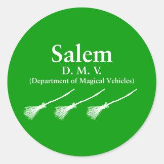 Departamento de Salem de vehículos mágicos Pegatina Redonda