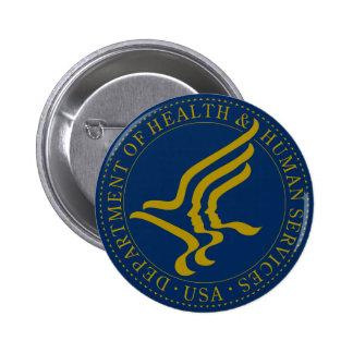 Departamento de sanidad y servicios sociales pin redondo de 2 pulgadas