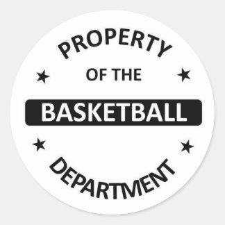 Departamento del baloncesto pegatina redonda