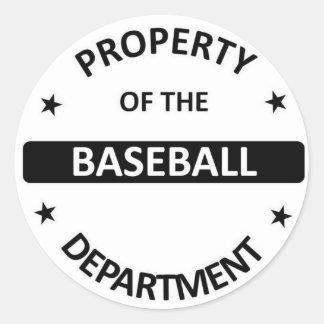 Departamento del béisbol pegatina redonda