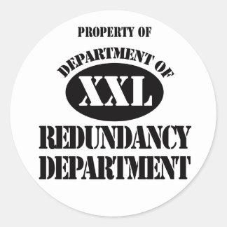Departamento del departamento de la redundancia pegatina redonda
