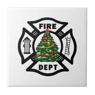 Departamento del fuego del navidad del bombero tejas  ceramicas