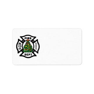Departamento del fuego del navidad del bombero etiquetas de dirección