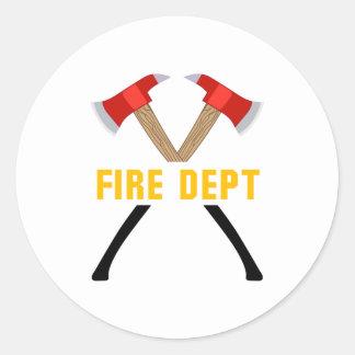 Departamento del fuego pegatina redonda