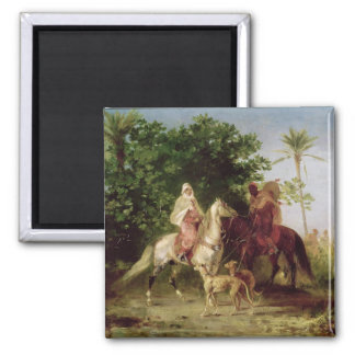 Departing for the Hunt 2 Inch Square Magnet