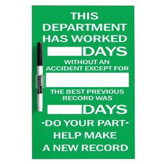 Department Accident Free Scoreboard Dry-Erase Board