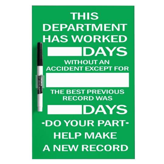 Department Accident Free Scoreboard Dry-Erase Board | Zazzle.com