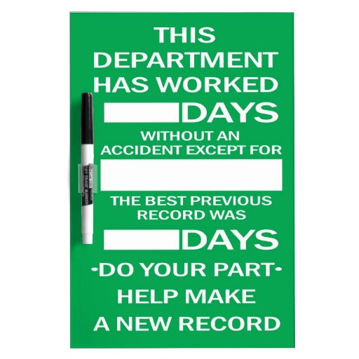 Department Accident Free Scoreboard Dry Erase Whiteboard