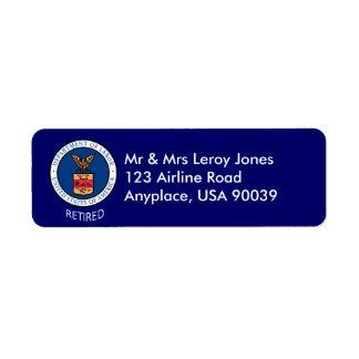 Department of Labor Retired Label Return Address Label