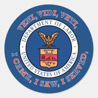 DEPARTMENT OF LABOR VVV Shield Classic Round Sticker