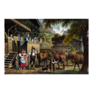Departure for the Alps - Traditional Swiss Scene Poster