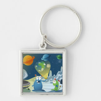 Departure for the Earth Silver-Colored Square Keychain
