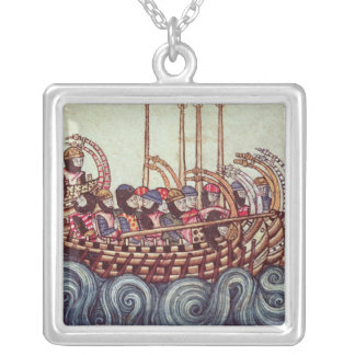 Departure of a Boat for the Crusades, Square Pendant Necklace