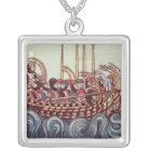 Departure of a Boat for the Crusades, Silver Plated Necklace