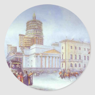 Departure of an Omnibus from St. Isaac's Square Classic Round Sticker